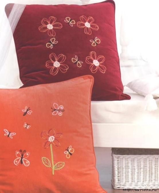 Подушки из мешковины и бархата с цветочной вышивкой (9) (555x673, 157Kb)