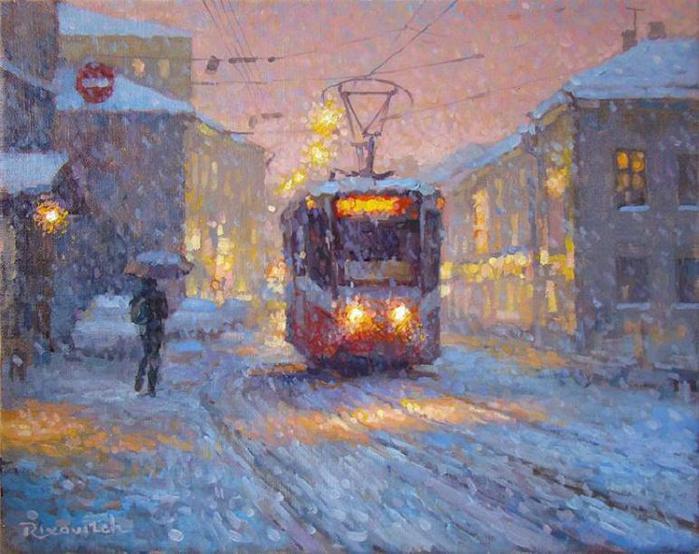 Волков Сергей. Розовые сумерки на Покровском бульваре (700x554, 64Kb)