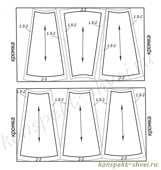 Выкройки юбки из клиньев 4