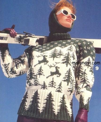 вязаный-пуловер-с-оленями
