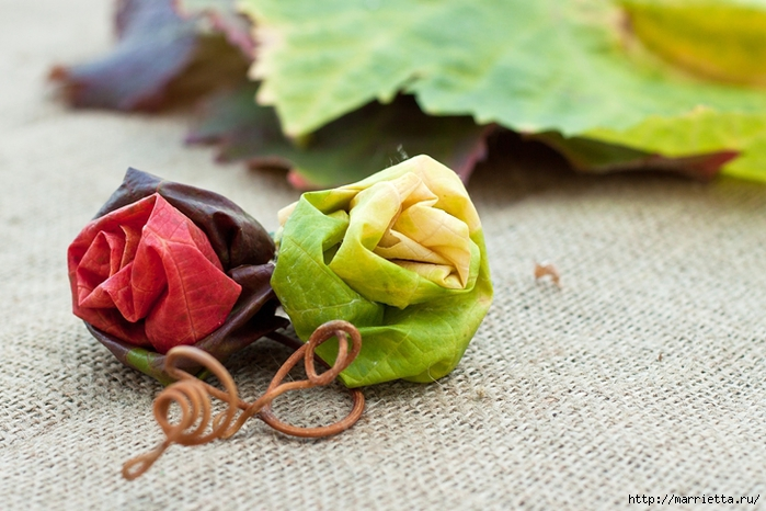 Осенний букет из виноградных листьев (10) (700x466, 260Kb)