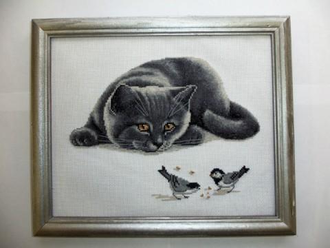 Котик с птичками.