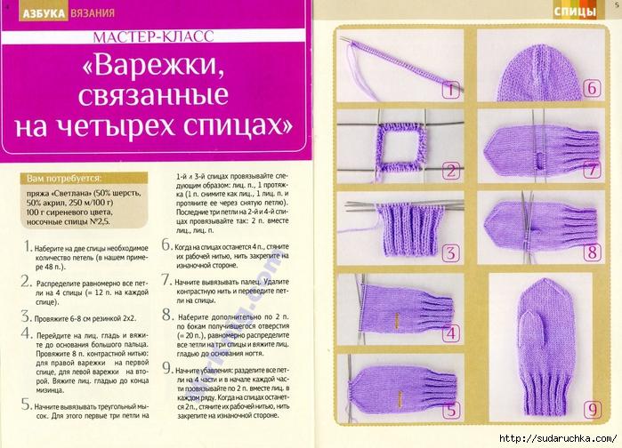 Вязание на спицах варежки мастер класс