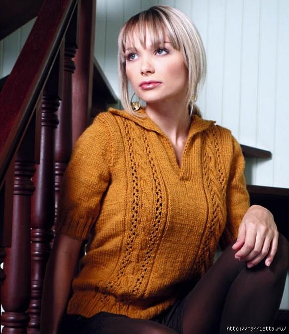 Пуловер с коротким рукавом. Вязание спицами (1) (582x674, 223Kb)