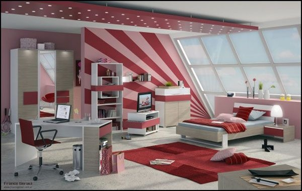 Дизайн интерьера. Комната для девочки-подростка (1) (600x379, 121Kb)