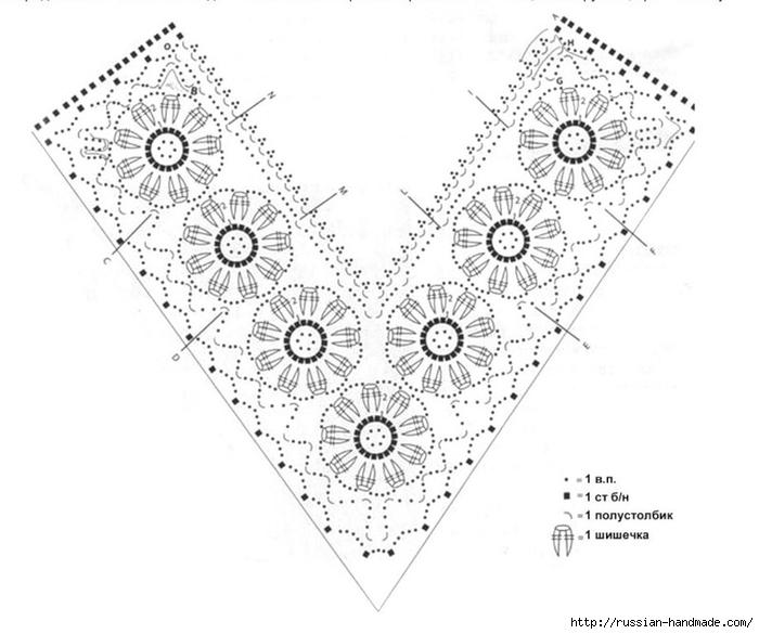 Нарядный пуловер спицами с цветочной обвязкой крючком (4) (700x585, 168Kb)