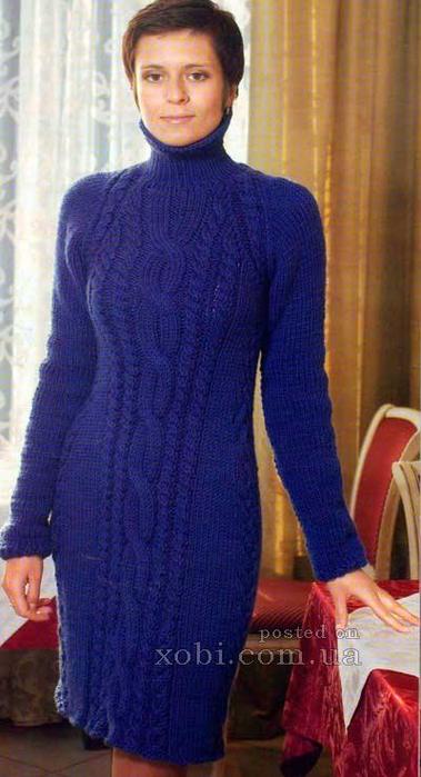 Вязаное платье теплое спицами схемы