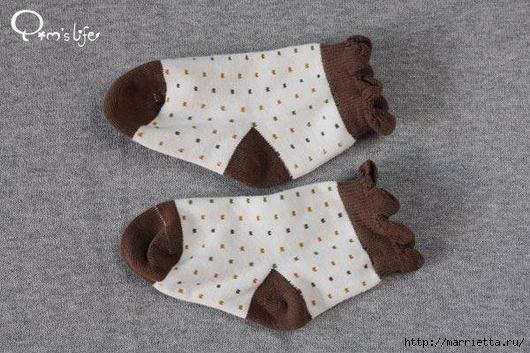 Игрушки из носка. Воробей и мишка (11) (530x353, 179Kb)