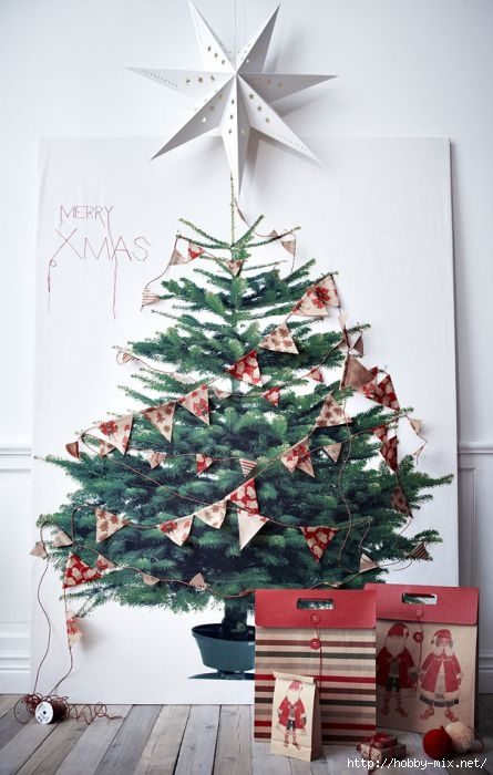 Alternative-Christmas-tree-ideas-poster-print-on-wall-with-paper-decorations (445x700, 167Kb)