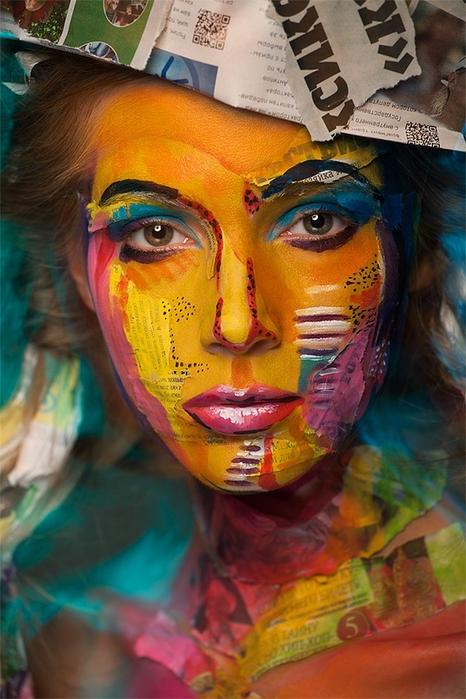 боди арт на лице фото (466x700, 264Kb)