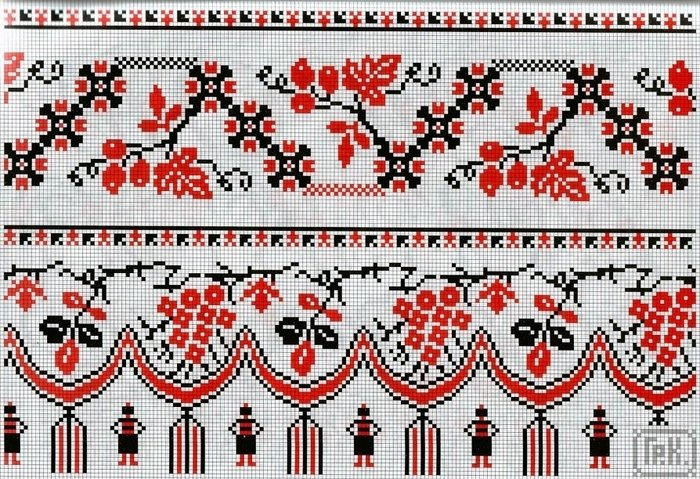 Украинская вышивка крестом красно черная