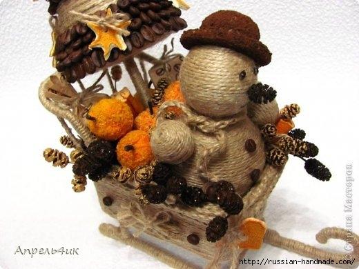 Санки, снеговик и елочка из джута и кофейных зерен. Мастер-класс (2) (520x390, 122Kb)