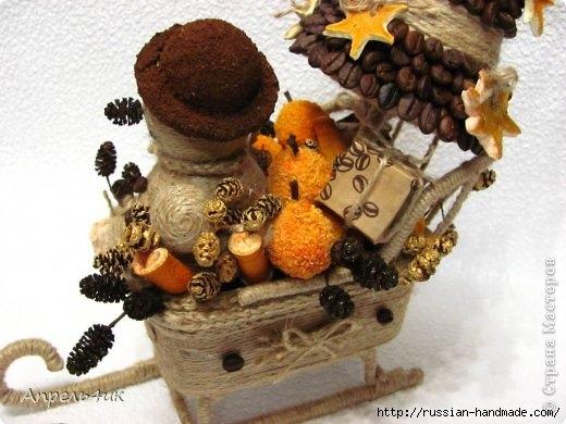 Санки, снеговик и елочка из джута и кофейных зерен. Мастер-класс (6) (520x390, 128Kb)