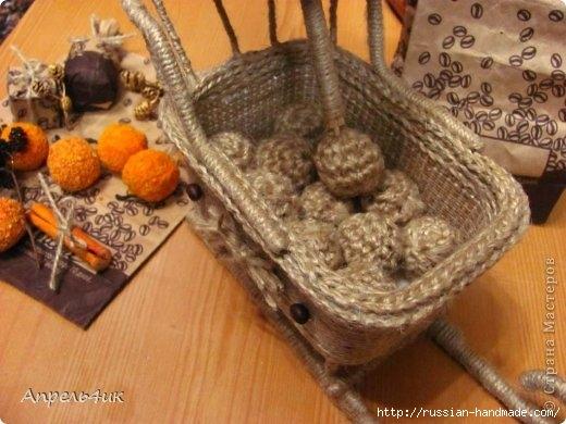 Санки, снеговик и елочка из джута и кофейных зерен. Мастер-класс (26) (520x390, 133Kb)