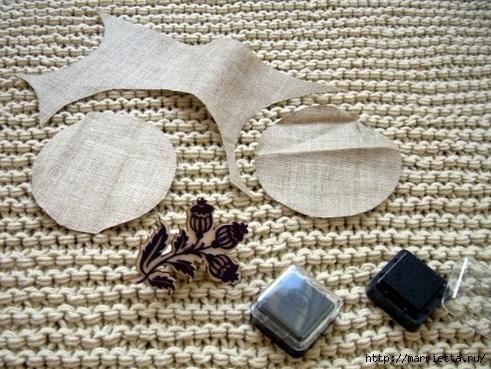 Идеи упаковки новогодних подарков. Шьем мешочки и украшаем их орешками (12) (491x369, 181Kb)