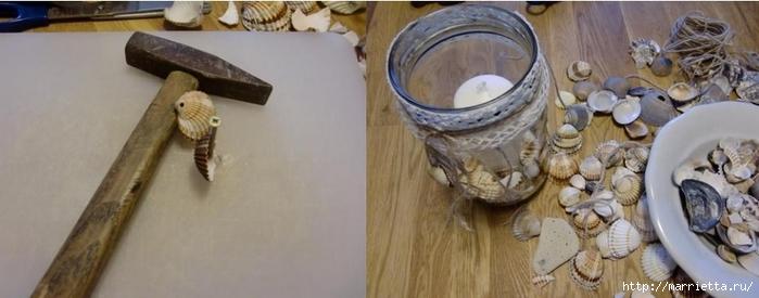 Подсвечник из банки, декорирование ракушками и кружевом (6) (700x275, 141Kb)