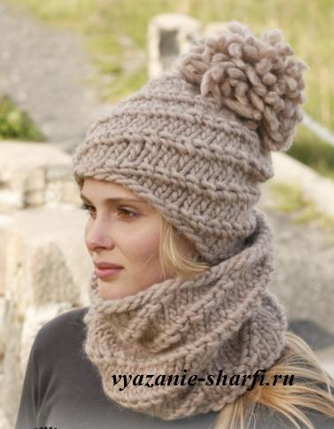 Шапка и шарф спицами 5 фотография