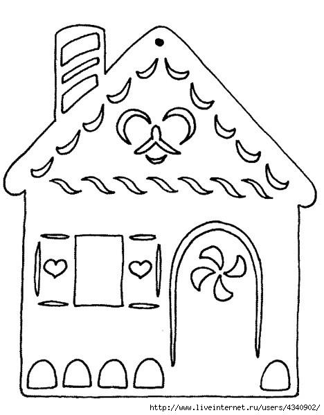 Украшение на окно к новому году домики