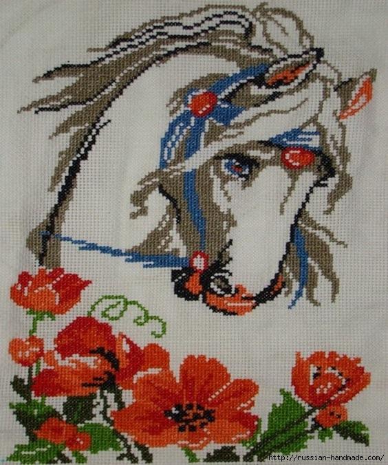 Лошадь в цветах. Схема вышивки (1) (564x676, 308Kb)