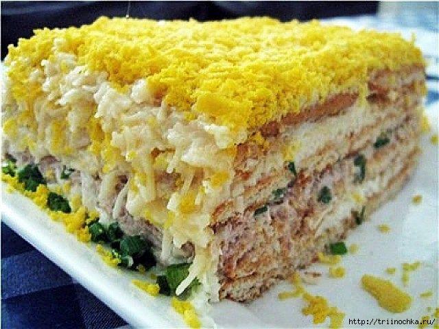 Воздушный рыбный салат торт с крекерами! Оригинально!