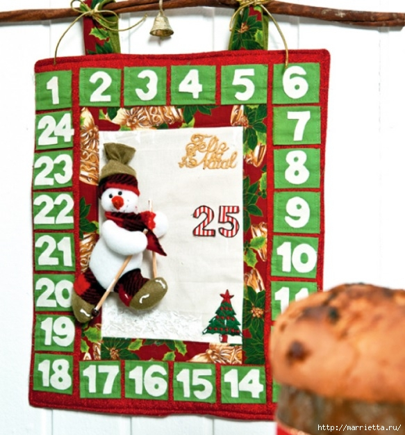 Calendario Adviento textiles.  Modelo del muñeco de nieve (1) (583x626, 230KB)
