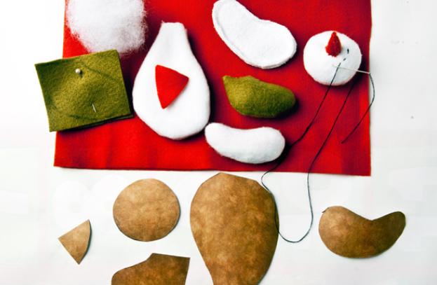 Calendario Adviento textiles.  Modelo del muñeco de nieve (7) (623x407, 448KB)