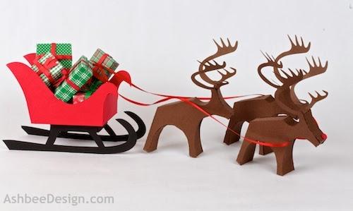 Северные олени и сани с новогодними подарками из бумаги. Шаблоны (38) (500x299, 76Kb)