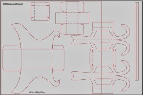 Renos y trineo con los regalos de Navidad de papel.  Plantillas (62) (500x334, 72Kb)