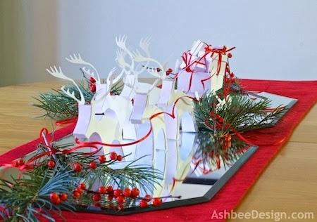 Северные олени и сани с новогодними подарками из бумаги. Шаблоны (1) (450x316, 106Kb)
