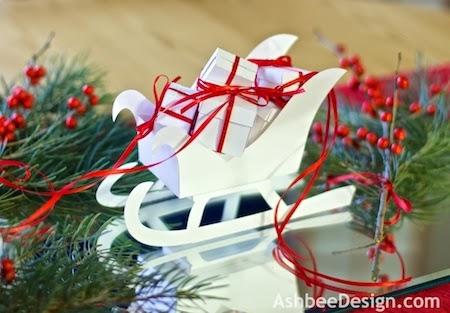Северные олени и сани с новогодними подарками из бумаги. Шаблоны (3) (450x313, 105Kb)