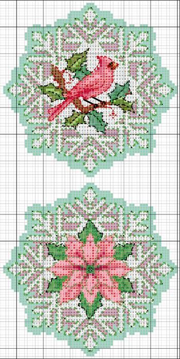схемы вышивки снежинок (6) (350x700, 256Kb)