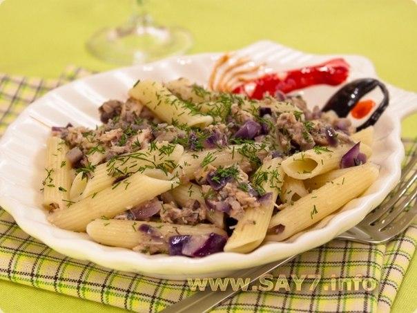 Рецепт макарон с тунцом с фото