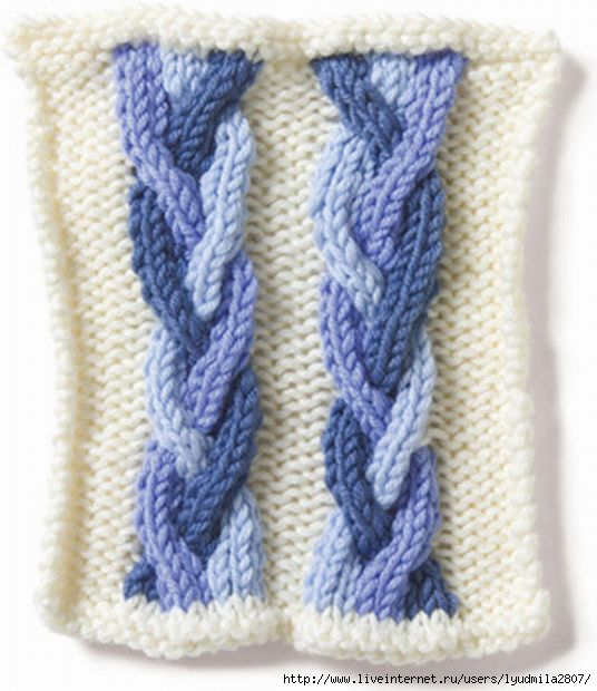 Вязание косы из двух цветов 33
