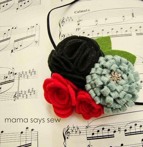 Цветы из фетра - украшение для волос маленькой принцессы (1) (600x618, 227Kb)
