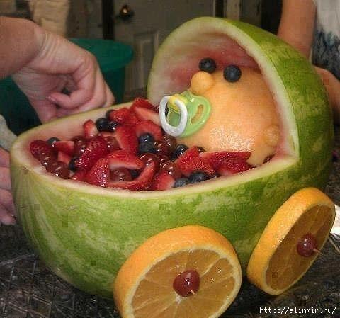 блюда украшения фруктовая коляска (480x449, 112Kb)