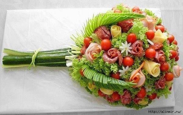 блюда украшения салат букет (600x378, 169Kb)