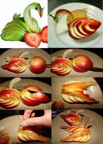 блюда украшения яблочный лебедь (344x480, 106Kb)
