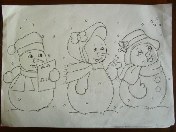 Рождественская роспись по ткани. Санта Клаус, снеговики (74) (700x525, 222Kb)