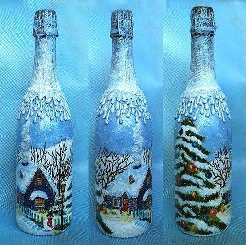 Декор шампанского к новому году своими руками