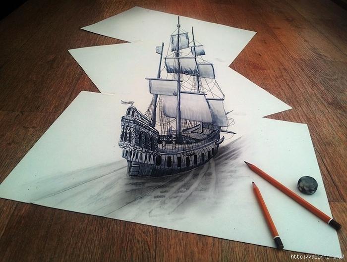 трехмерные рисунки карандашом (700x529, 276Kb)
