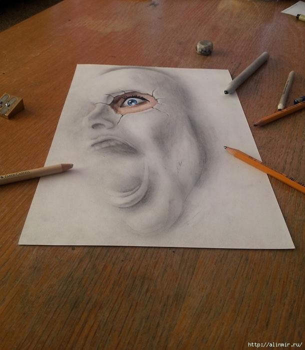 трехмерные рисунки карандашом10 (610x700, 257Kb)