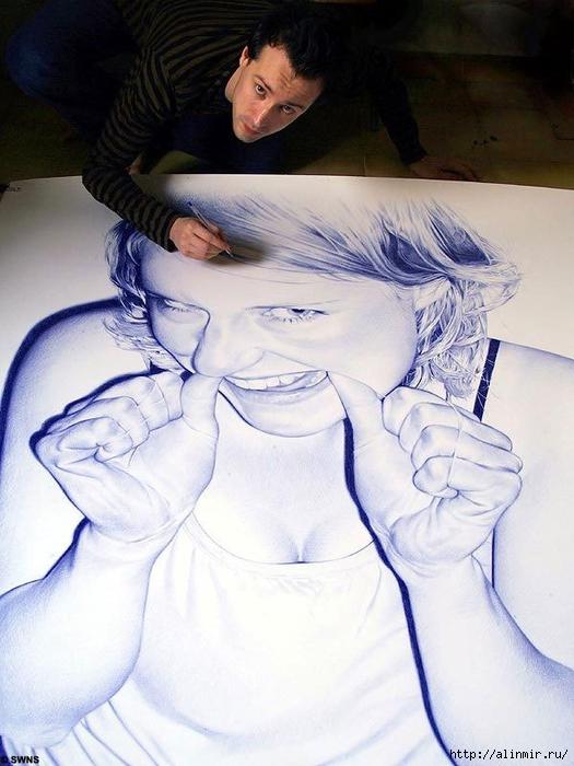 Картины шариковой ручкой Хуана Франсиско Касаса16 (525x700, 249Kb)