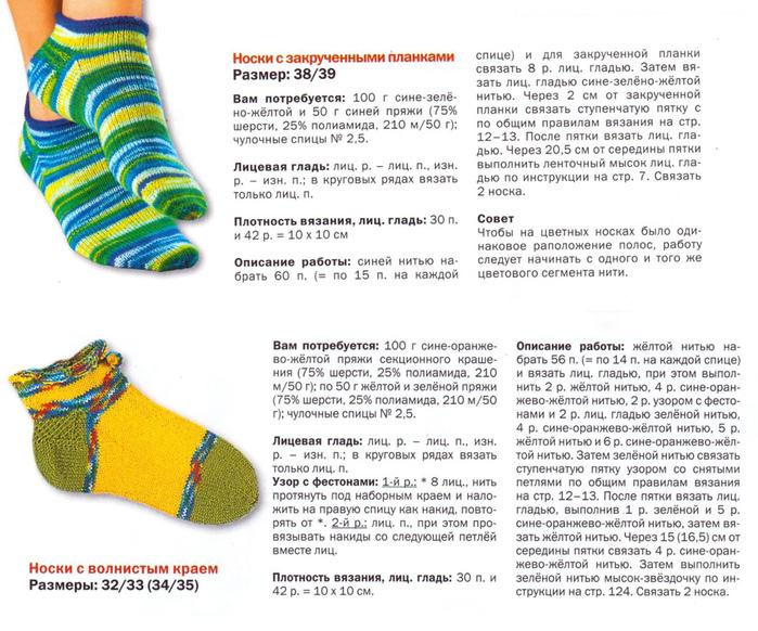Вязание женских носочков на спицах с описанием 75