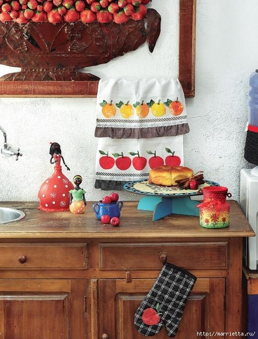 Яблочки на кухонном полотенце. Аппликация (1) (530x694, 301Kb)