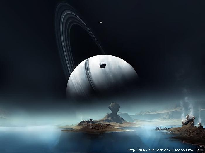Сатурн со спутника (700x525, 117Kb)