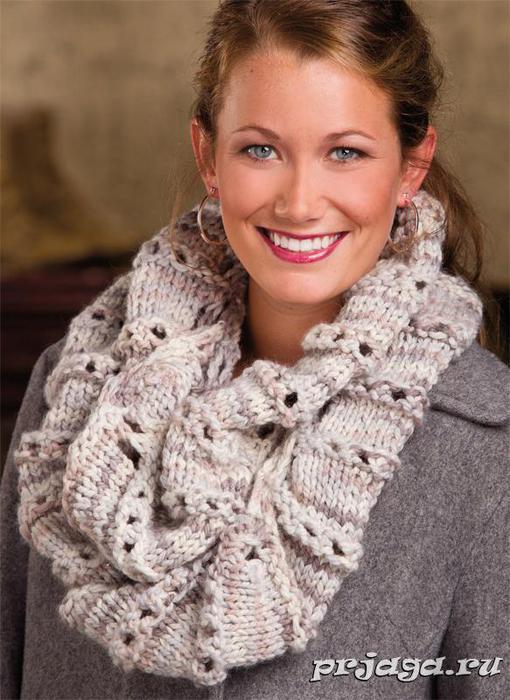 шарф хомут спицами - Самое