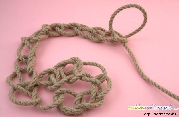 Корзинка из веревки. Вязание на руках (3) (625x410, 90Kb)