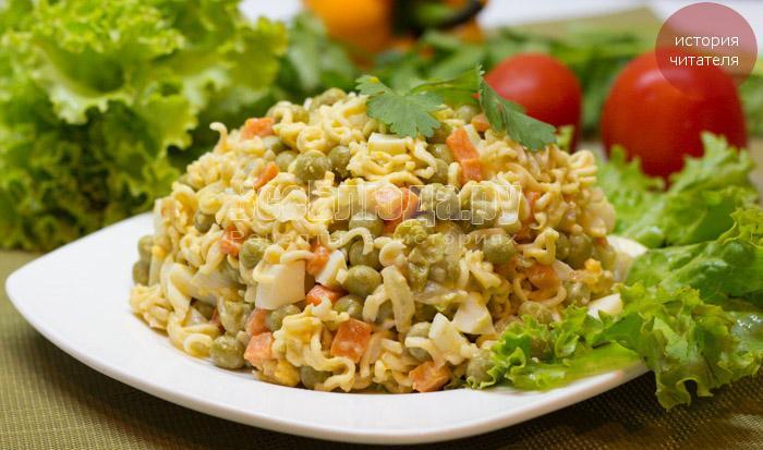 Рецепты салатов с лапшой быстрого приготовления с
