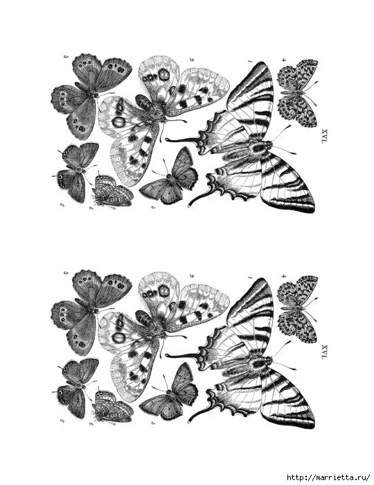 Декорирование елочных шаров обрывками книжных страниц и бабочками (1) (540x700, 177Kb)