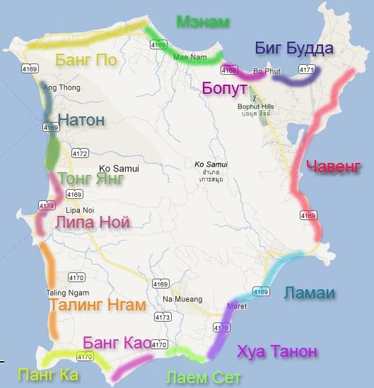 Karta Samui - osnovnye plyazhi (529x550, 182Kb)